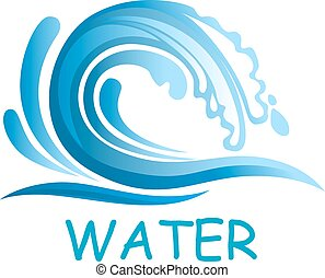 eau bleue, eclabousse, vague