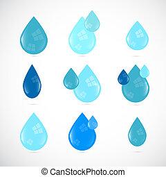 eau bleue, ensemble, symboles, vecteur, gouttes