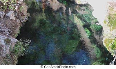 eau bleue, fond, ondulé, piscine, natation