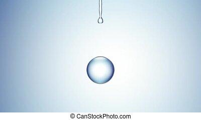 eau bleue, gouttes, 4k, arrière-plan.