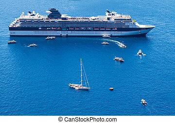 eau bleue, luxe, mer, bateau croisière
