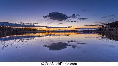 eau bleue, soir, heure, calme, lac
