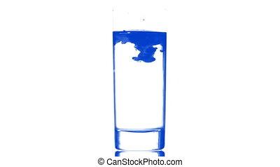 eau bleue, verre, encre
