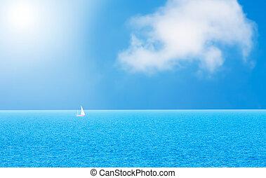 eau bleue, yacht, océan