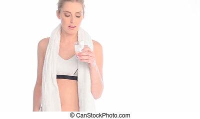 eau, boire, après, dame, séance entraînement
