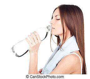 eau, boire, femme, bouteille