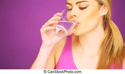 eau, boire, femme, fitness