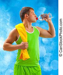 eau, boire, homme, jeune, sports