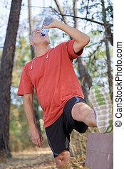 eau, boire, mûrir, bouteille, homme