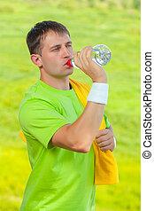 eau, boire, sportif