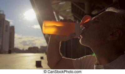 eau, boire, vieilli, sportif, homme