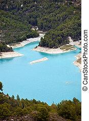 eau, boisé, turquoise, entre, îles