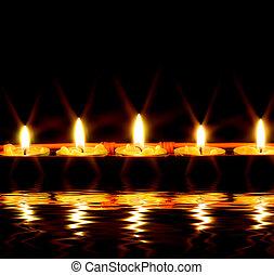 eau, bougies