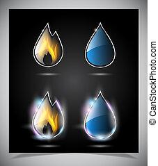 eau, brûler, goutte, icônes
