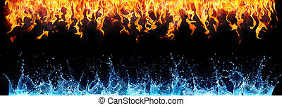 eau, brûler, noir, opposé, -