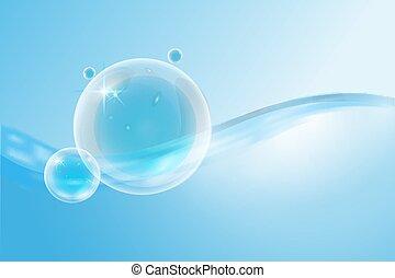 eau, bubbles., résumé, surface, vague
