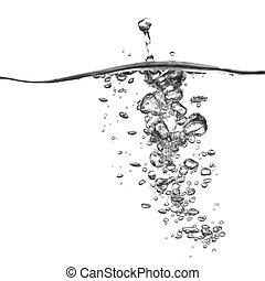 eau, bulles, éclaboussure, isolé, blanc