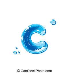 eau, c, -small, liquide, lettre