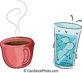 eau, café chaud, froid