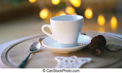 eau, café versant, tasse