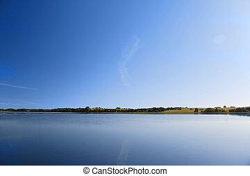 eau, calme, Lac