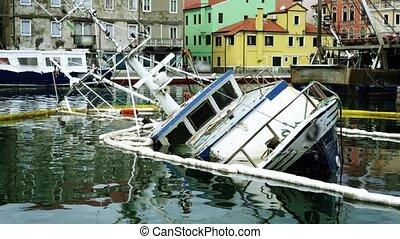 eau, calme, vieux, sunken, cassé, après, rivière, fracas, voilier
