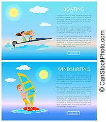 eau, canotage, planche voile, illustration, sports