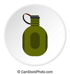 eau, cantine, Cercle, icône