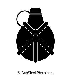 eau, cantine,  silhouette,  camping, équipement