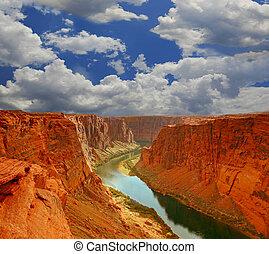 eau, canyon, début, grandiose