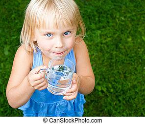 eau, casquette, enfant