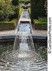 eau, château, alnwick, caractéristique, jardins