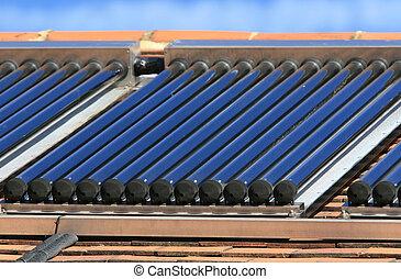 eau, chaud, étalage, panneau solaire