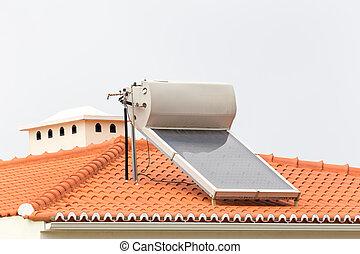 maison tube chauffage toit eau chaud solaire maison image de stock recherchez. Black Bedroom Furniture Sets. Home Design Ideas