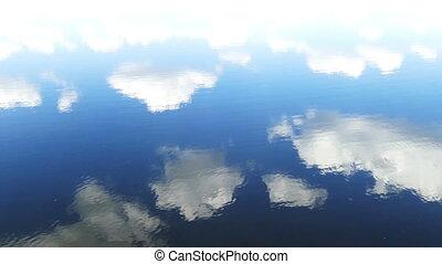 eau, ciel, nuages, reflet, surface