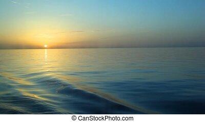 eau, cleaves, bateau, coucher soleil, au-dessus