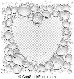 eau, coeur, bulles, cadre, transparent