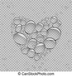 eau, coeur, bulles, transparent
