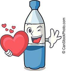 eau, coeur, dessin animé, bouteille, mascotte