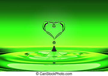 eau, coeur, gouttes, vert, formé