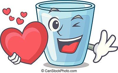 eau, coeur, mascotte, isolé, verre