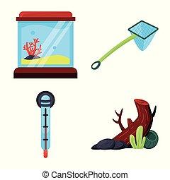 eau, collection, accessoire, stock., icône, chouchou, objet, vecteur, isolé, symbole.