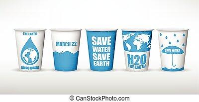 eau, collections, tasse