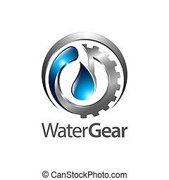 eau, concept, engrenage, symbole, trois, élément, dimensionnel, graphique, gabarit, logo, style., design.