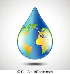 eau, concept, globe, goutte, formulaire, environnement, la terre