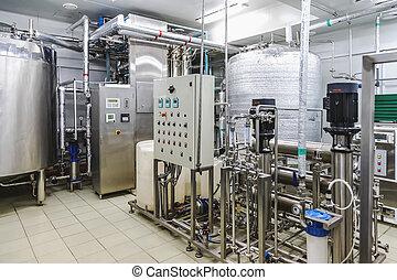 eau, conditionnement, ou, destilation, salle