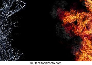eau, connexion, brûler, arrière-plan noir, isolé, elements., représentation