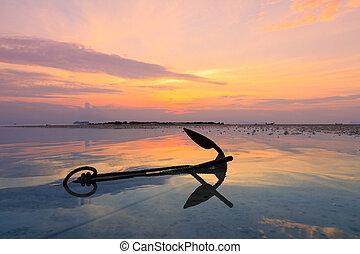 eau, coucher soleil, vieux, ancre