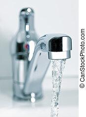 eau coulante, depuis, les, robinet