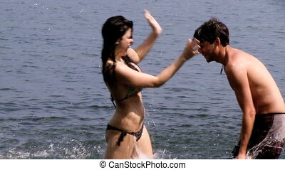 eau, couple, amour, baiser